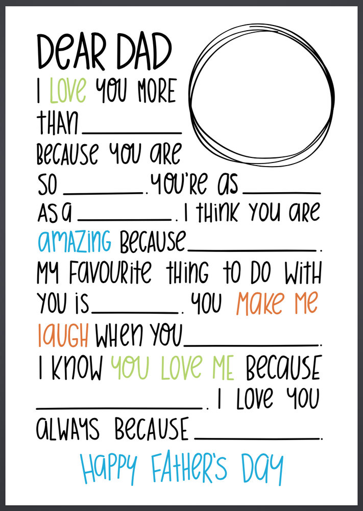 dear dad letter fill in the blanks great for fathers day