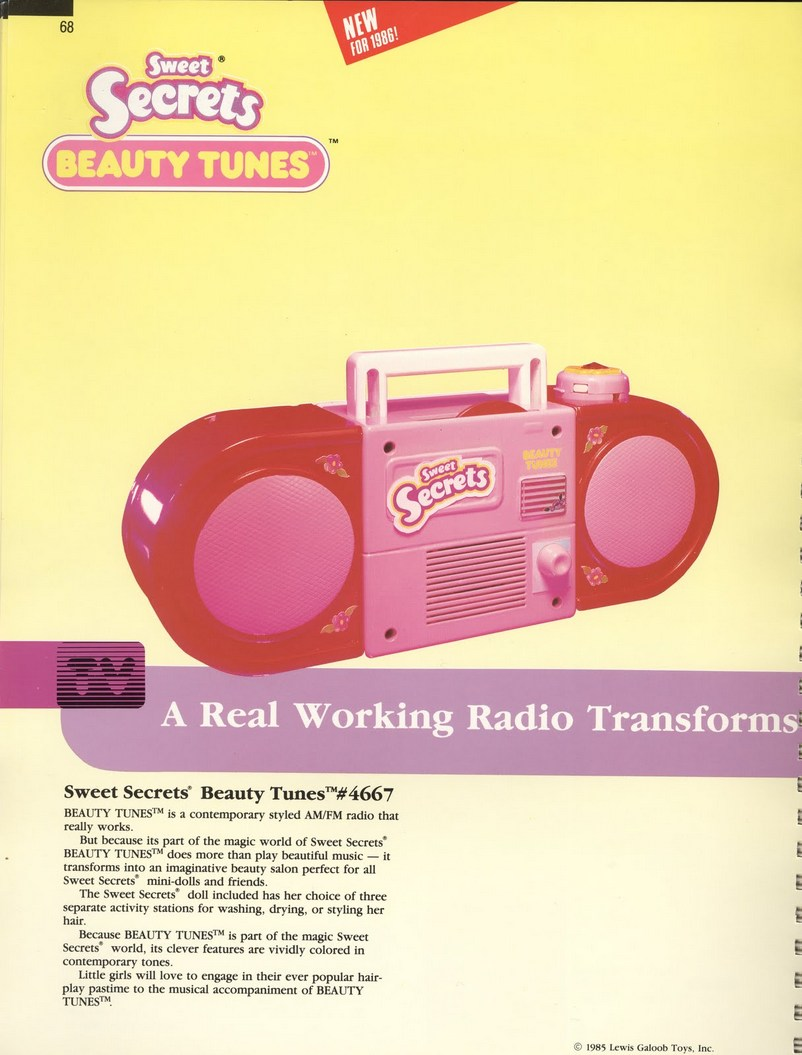 1986 Galoob Sweet Secrets Beauty Tunes radio ghetto blaster