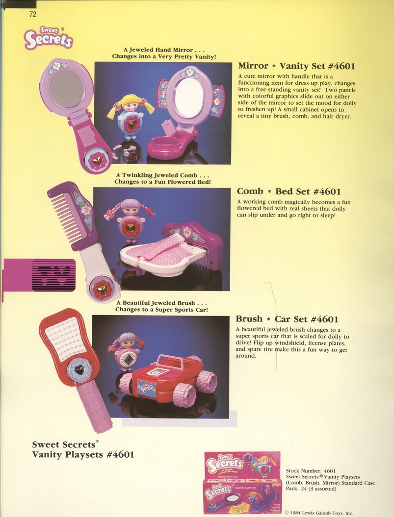 1986 Galoob Sweet Secrets Vanity Playsets Brush Car Mirror Vanity Comb Bed