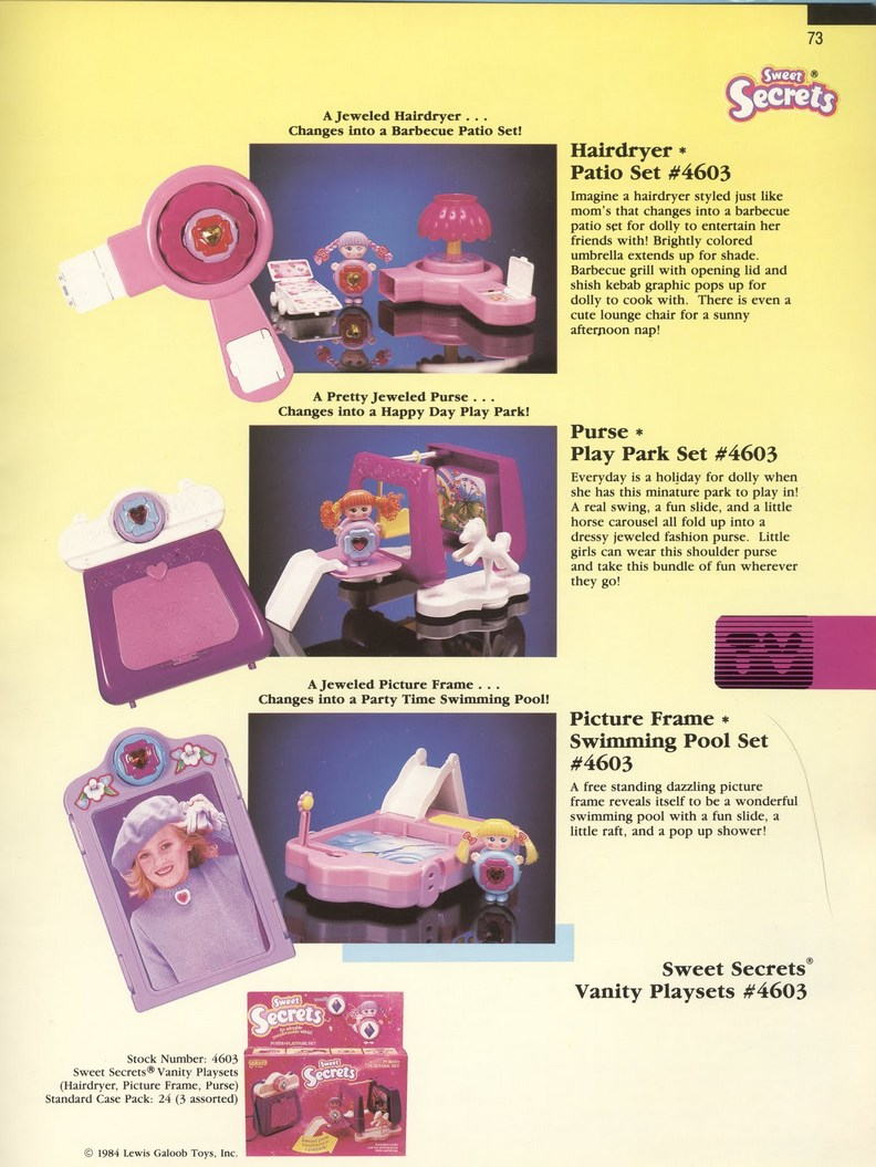 1986 Galoob Sweet Secrets vanity playsets Picture Frame Swimming Pool Purse Park Hairdryer Patio