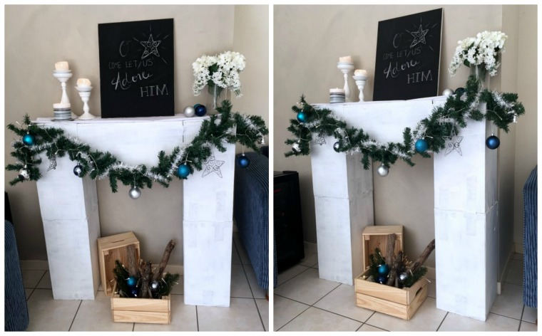 Make a faux fireplace out of boxes - such a fun idea for Christmas