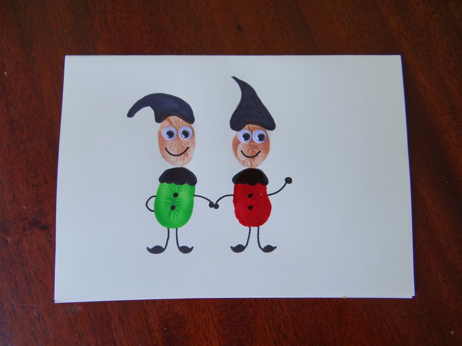Homemade Christmas Cards - Fingerprint Christmas Cards - Elves