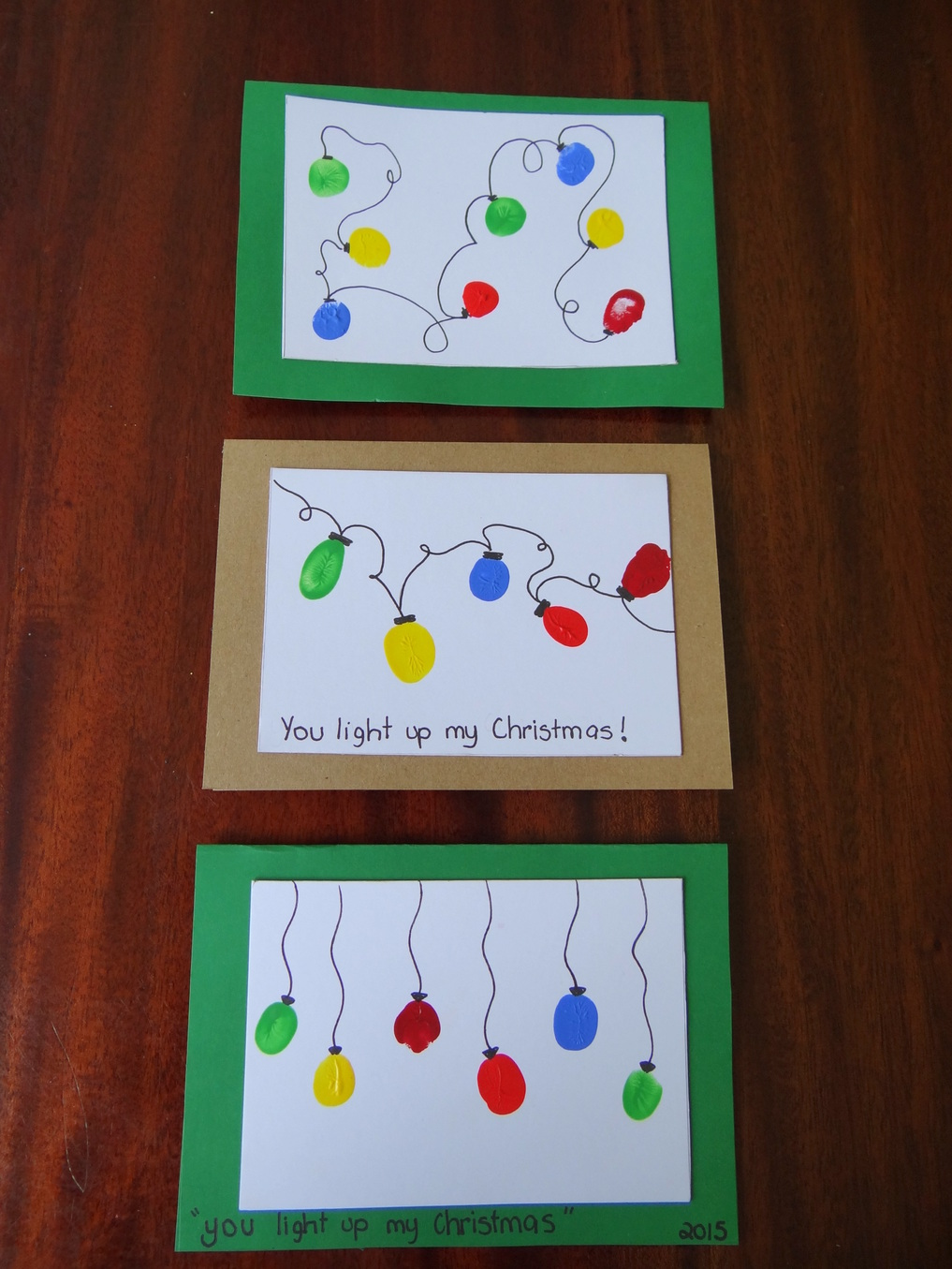 Homemade Christmas Cards using fingerprints - Lights