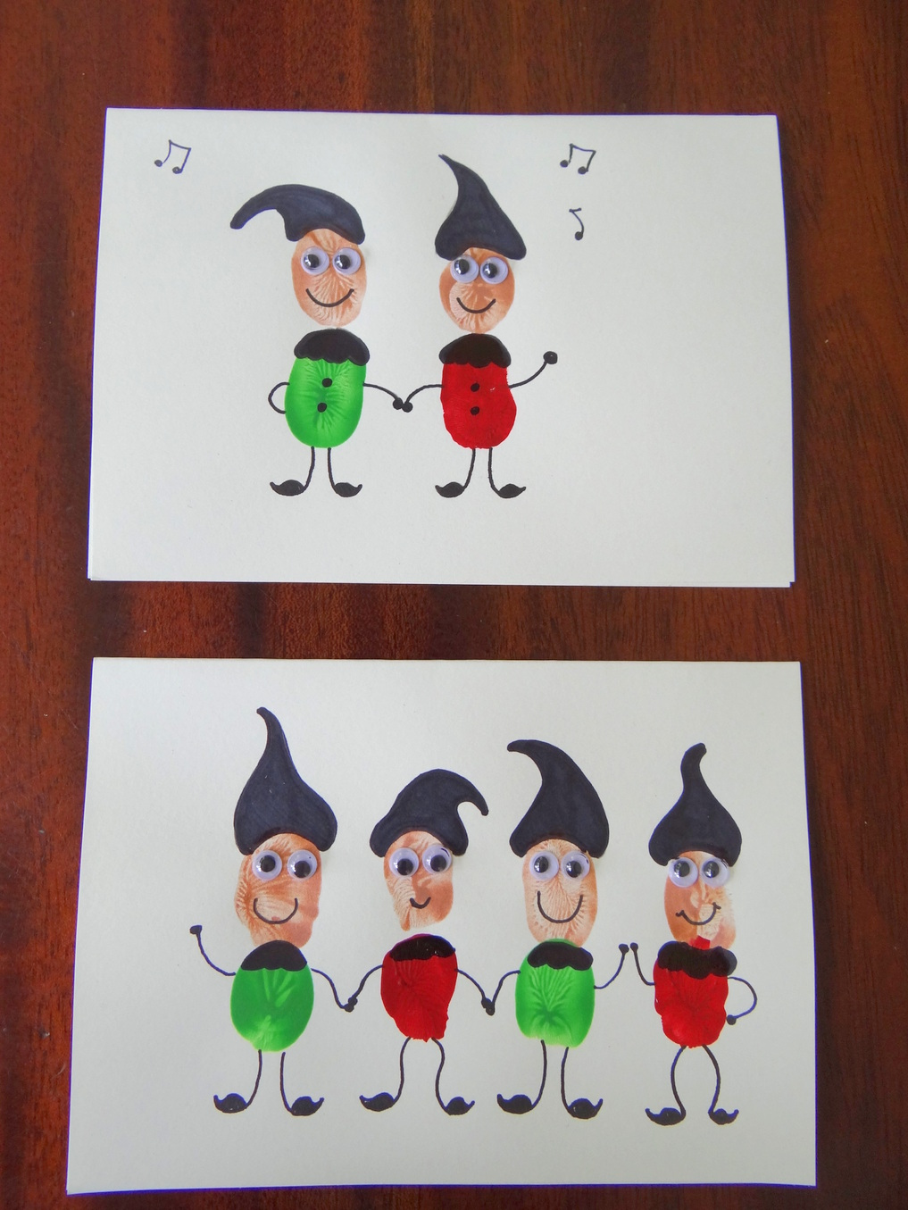 Homemade Christmas Cards using fingerprints - Elves