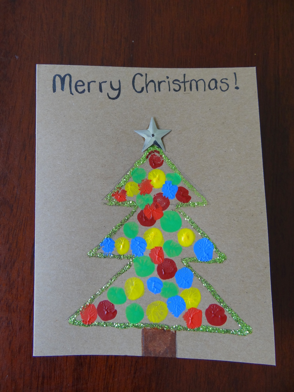 Homemade Christmas Cards using fingerprints - Christmas Tree