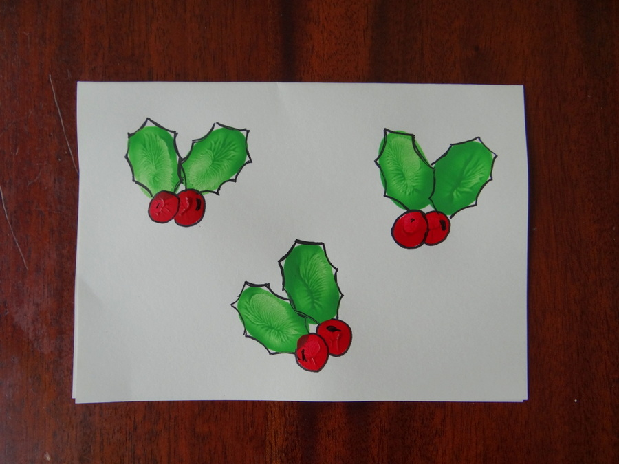 Homemade Christmas Cards using fingerprints - Holly