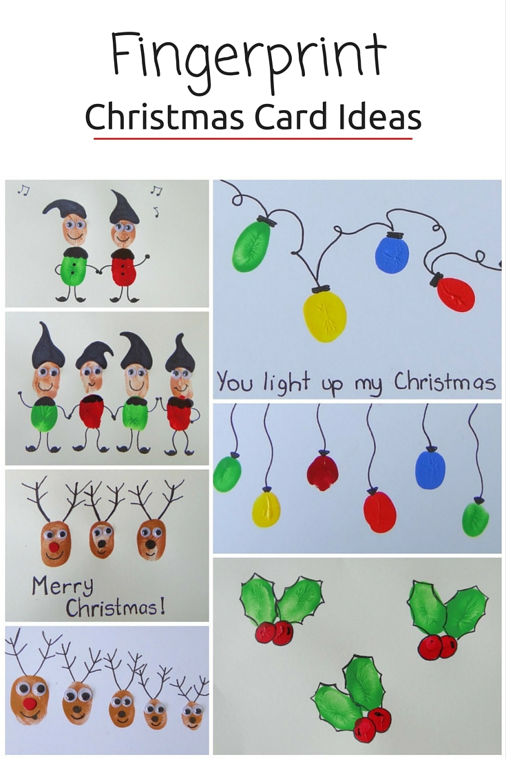 Fingerprint Christmas Card Ideas - more on the blog