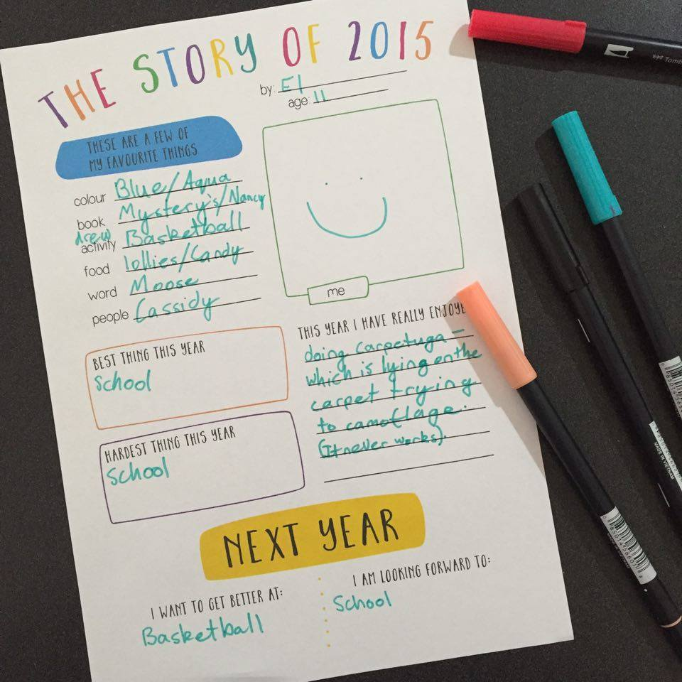 Story of 2015 - a reflection for kids