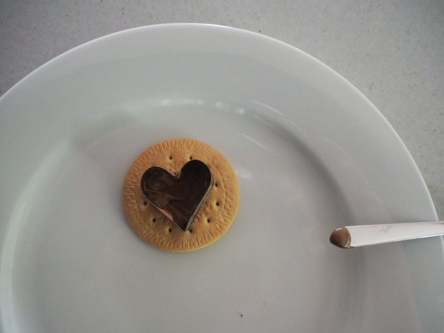 chocolate heart freckle biscuit