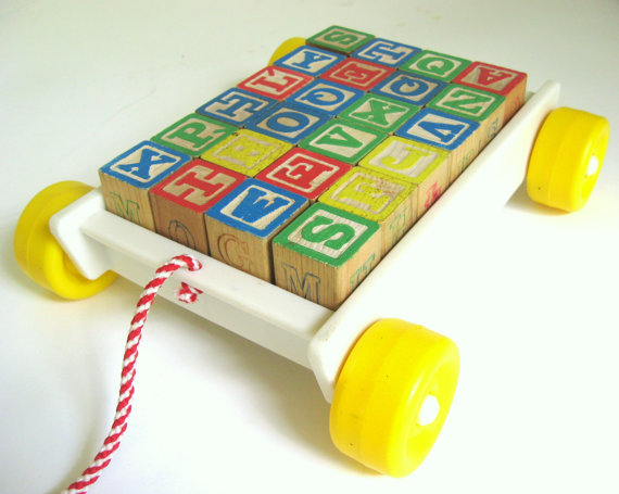 Playskool's classic alphabet block wagon produced in the 1970's via ETSY
