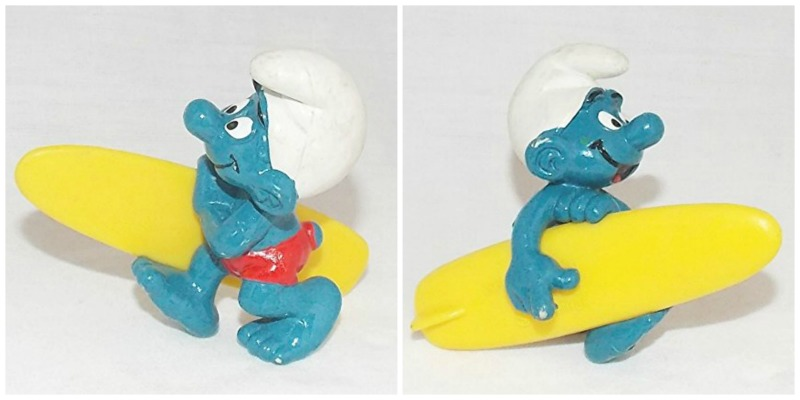 1981 Vintage Surfing Smurf with Surfboard