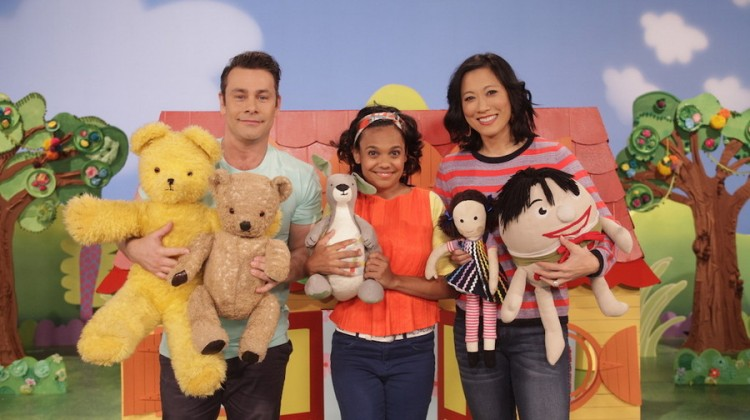 ABC KIDS' Play School presenters Teo Gebert, Miranda Tapsell and Karen Pang with toys
