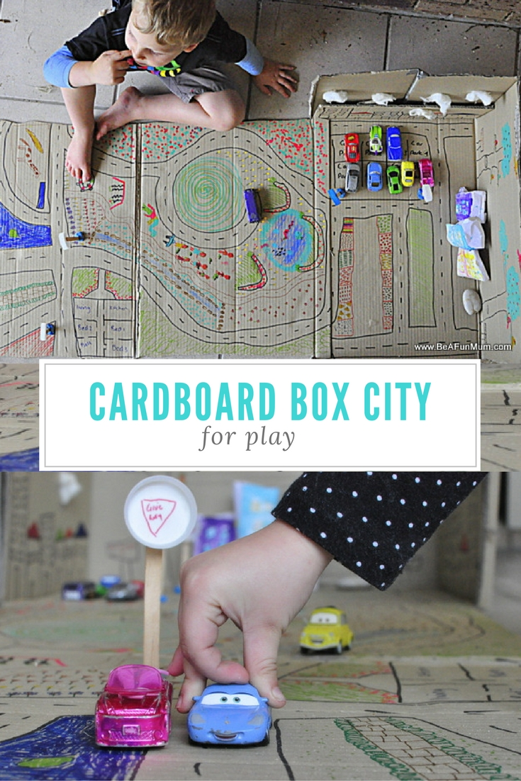 How to turn a box into a cardboard city for play