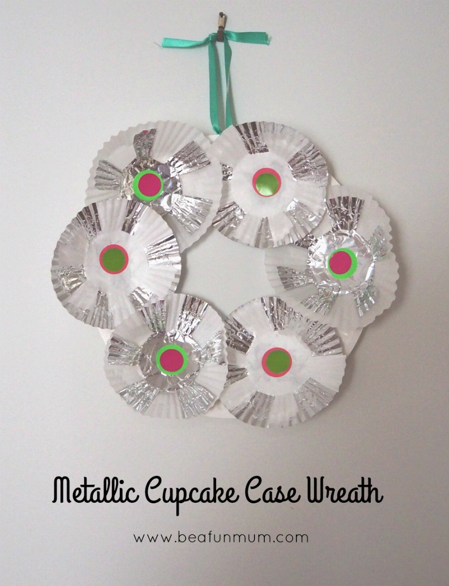 metallic cupcake case wreath
