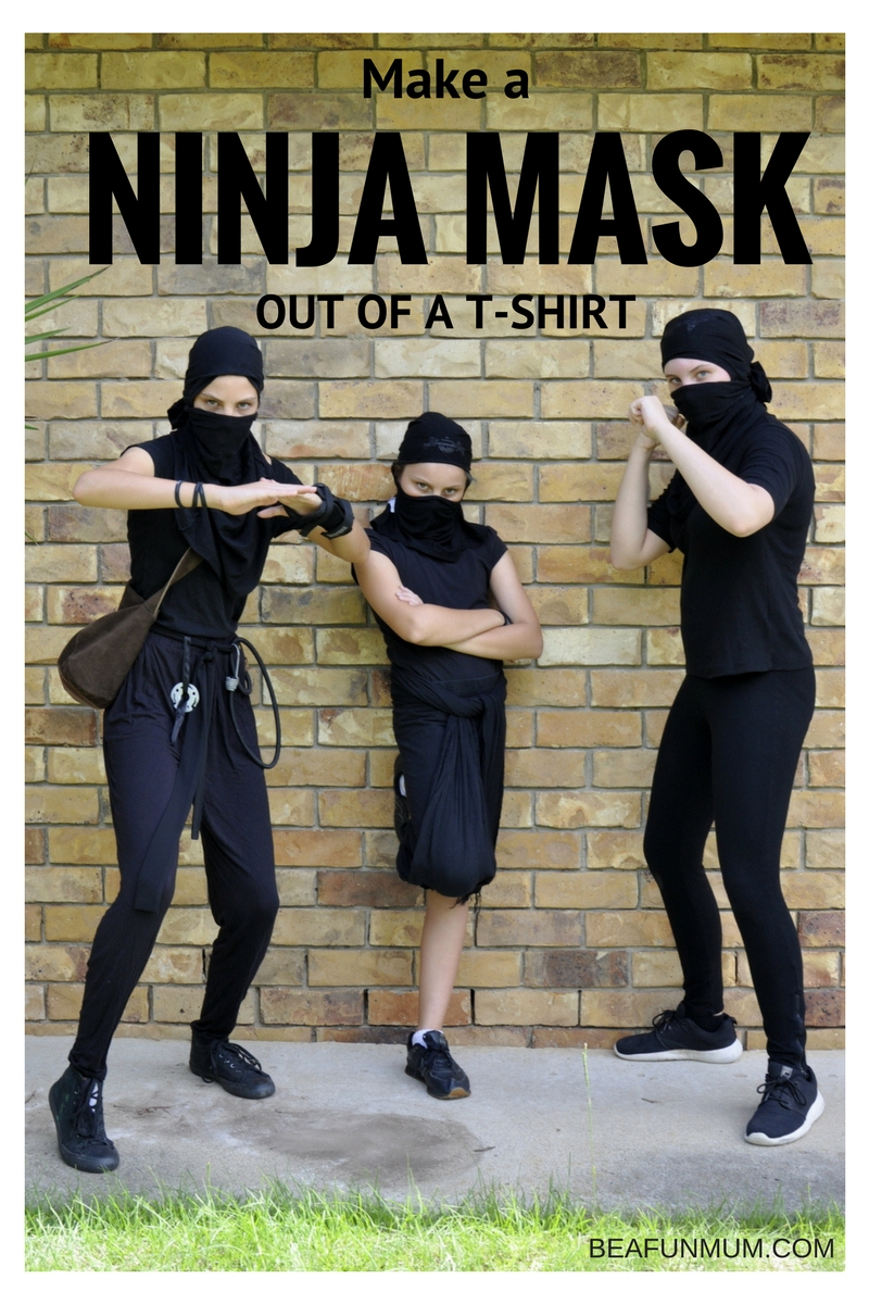 How to make a Ninja Mask out of a T-Shirt - DIY Ninja Costume for Kids