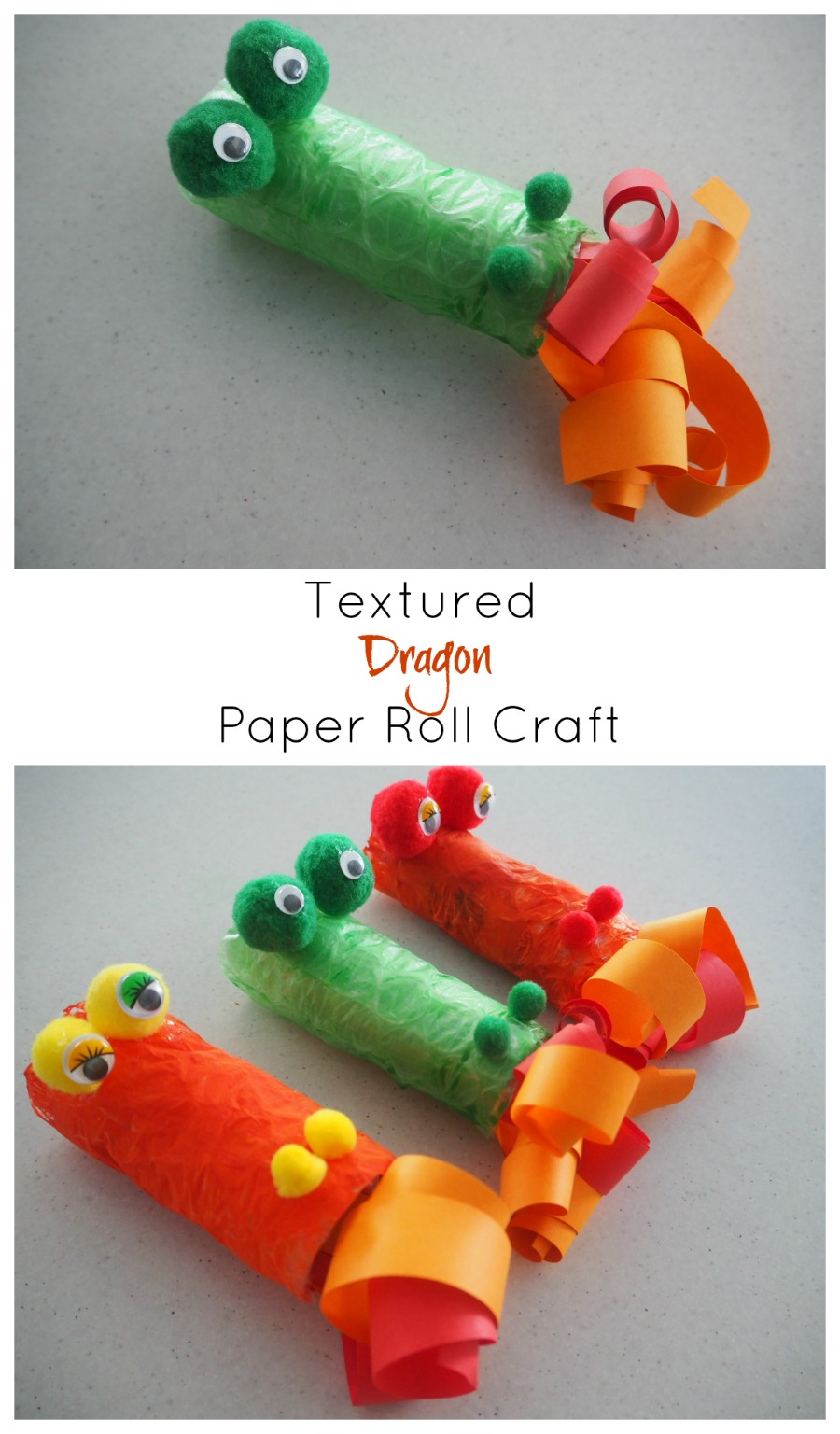 textured dragon paper roll craft