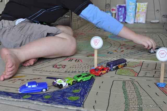cardboard box city -- play scene roads
