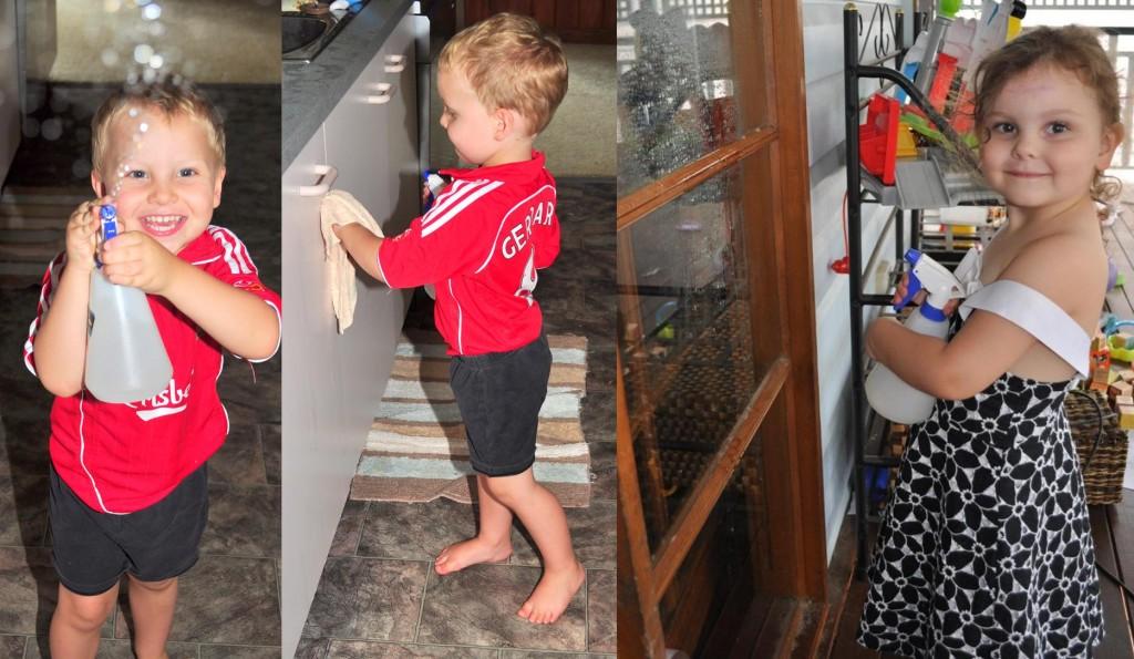 Activities for preschool children: spray bottle fun and cleaning