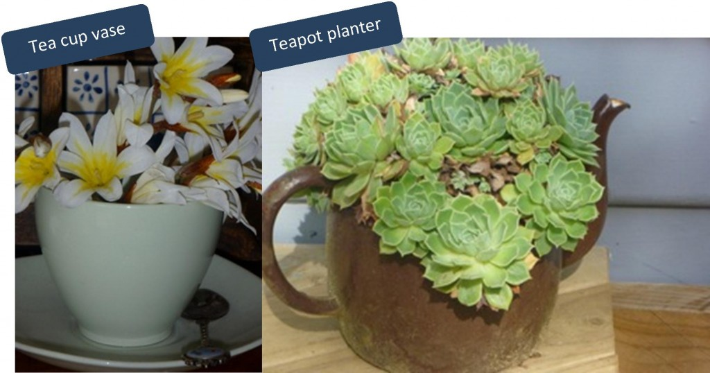 decorating with second hand pieces teapot as planter