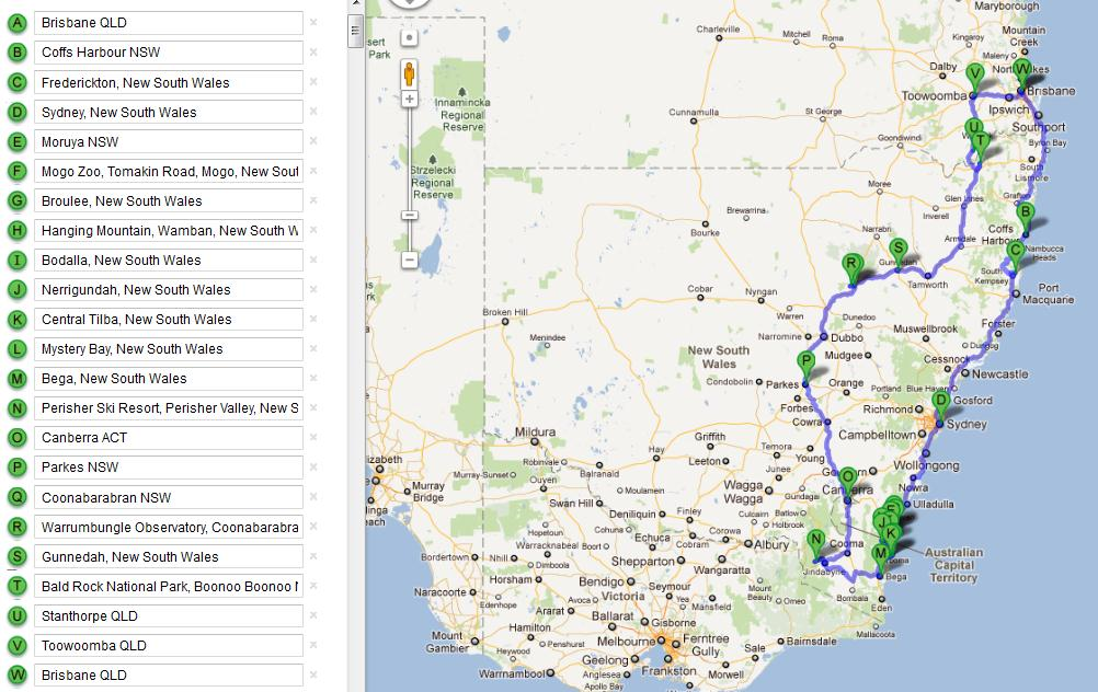 australian road trip map