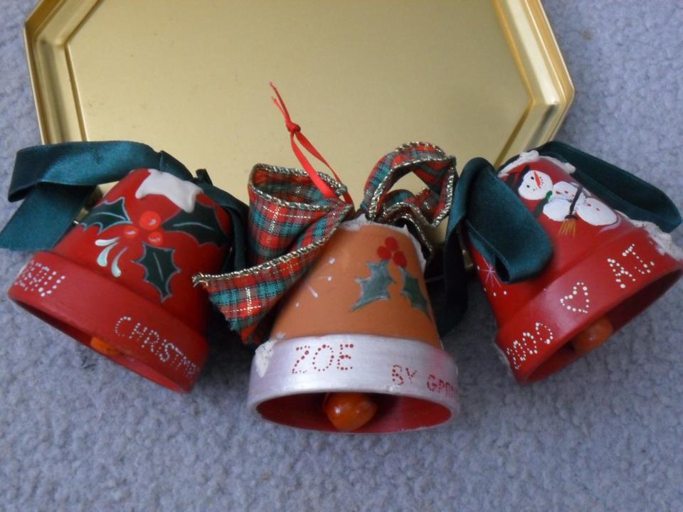 Christmas decorations -- teracotta pot bells