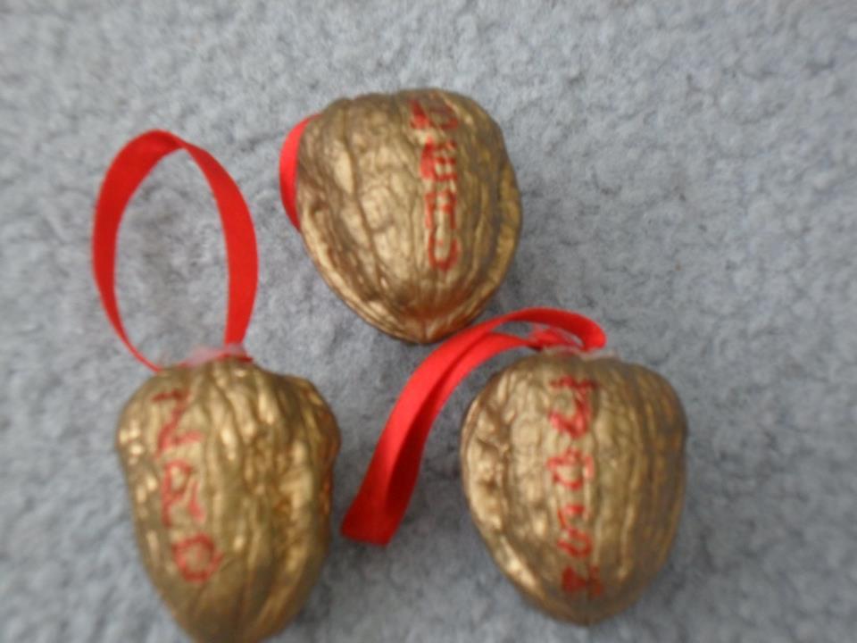 handmade Christmas decorations -- golden walnut