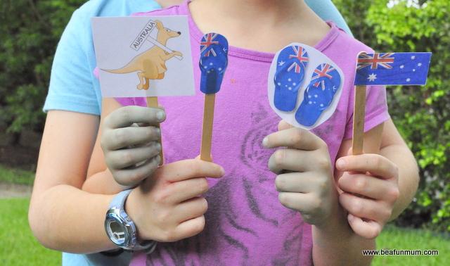 Australia Day Craft for Kids -- Mini Flag Printables