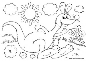 australian summer kangaroo free colouring page printable - Australia Coloring Pages Kids