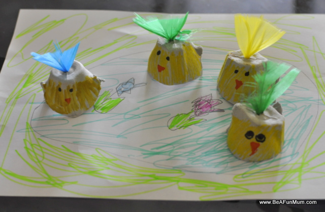 Easter Play -- Chicks in a pond