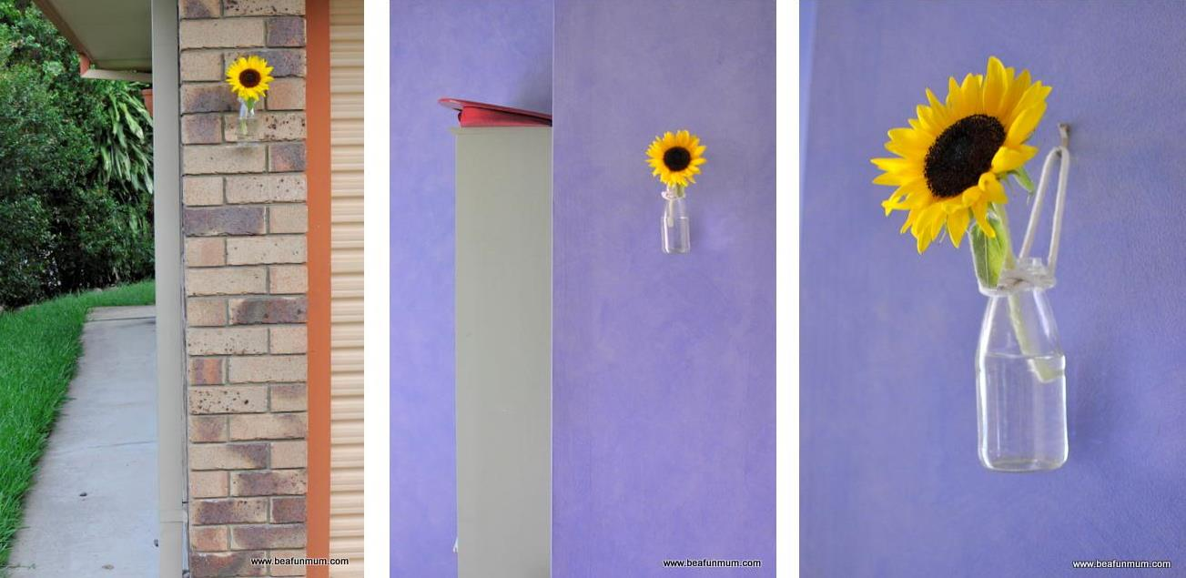 Diy stunningly simply hanging wall vase be a fun mum sunflowers in a juice bottle wall vase reviewsmspy