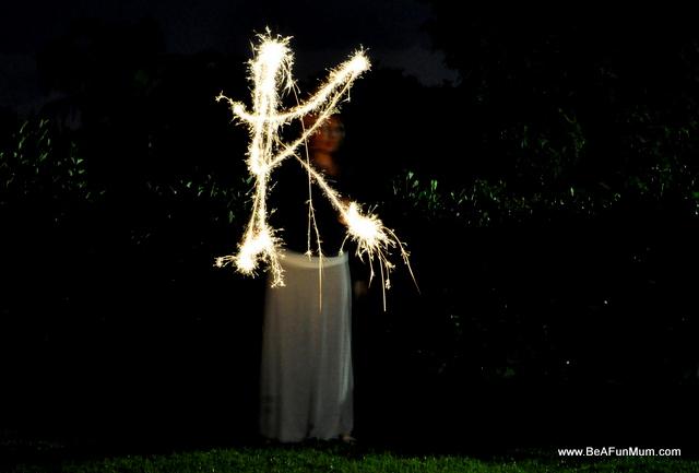 letter k sparkler picture
