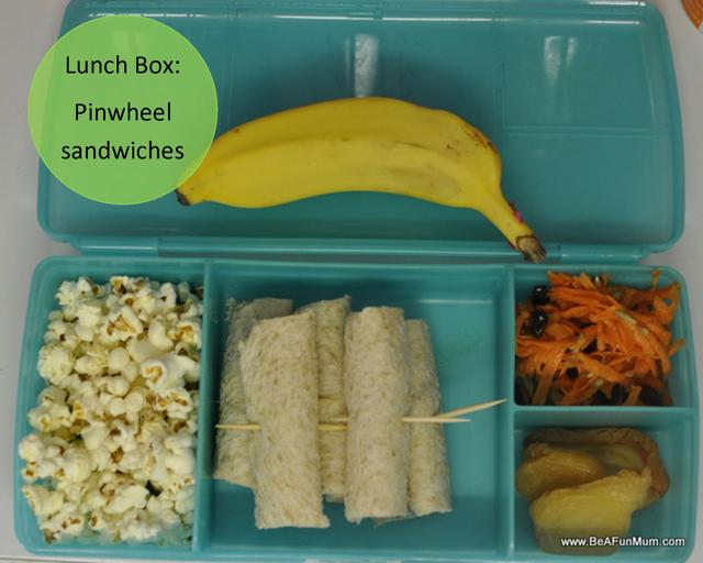 pinwheel sandwiches -- lunch box ideas -- fibre for kids