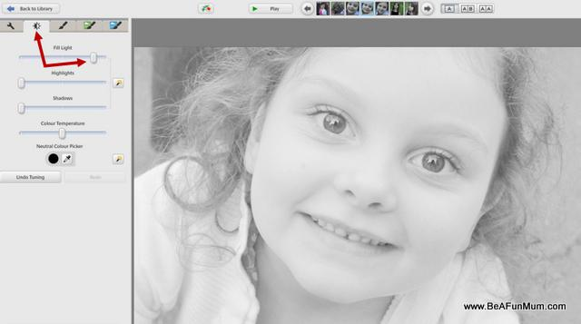 black and white editing step two