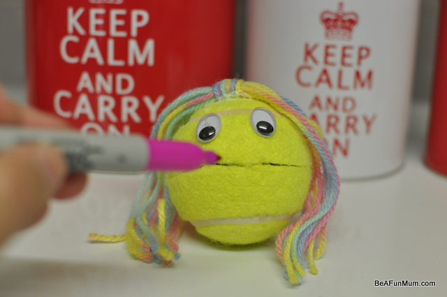 tennis ball head puppet -- lips
