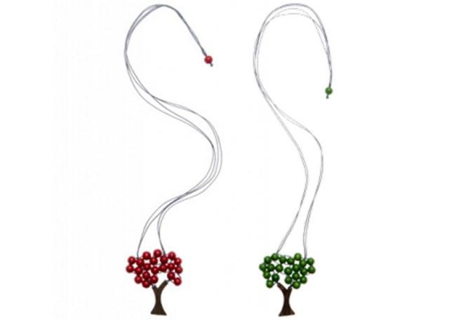elk tree necklace -- red and green