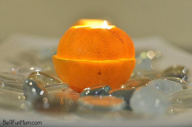 orange lantern table centrepiece