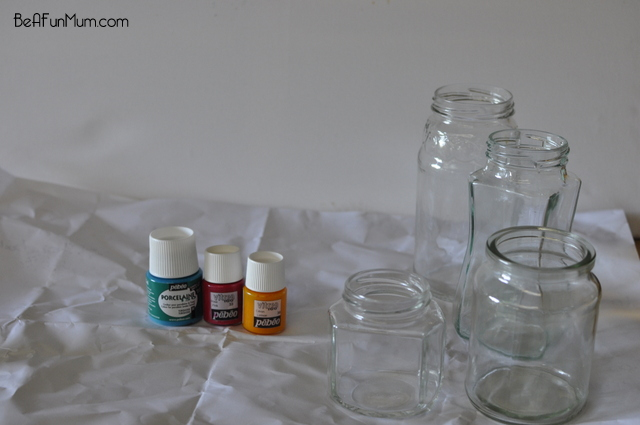 tinted jar -- upcycle jars by coloring them with glass paint