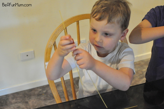 spaghetti threaded sausage -- great for kids