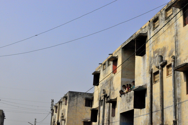 India skyline slums
