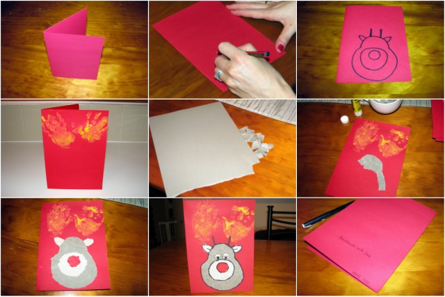 Homemade Christmas Cards -- Rudolph