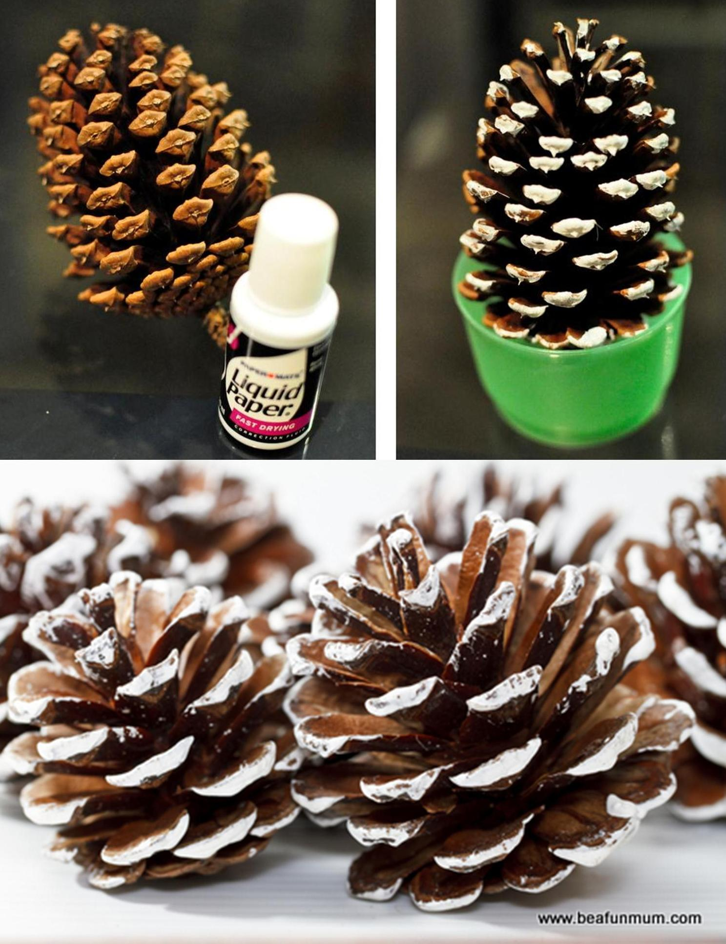 pine cone liquid paper -- how to paint a pine cone