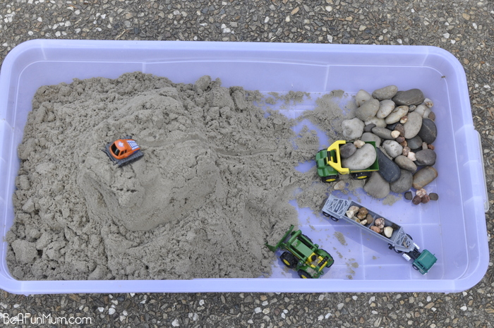 Sand pit in a box