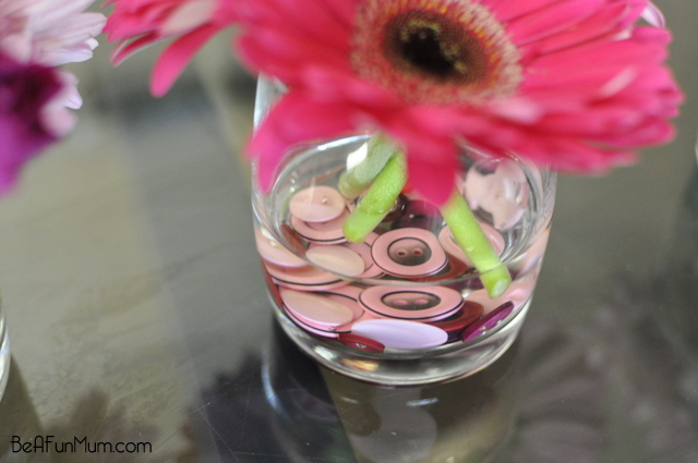 Buttons in flower vase