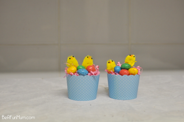 Easter Craft -- cupcake case nest