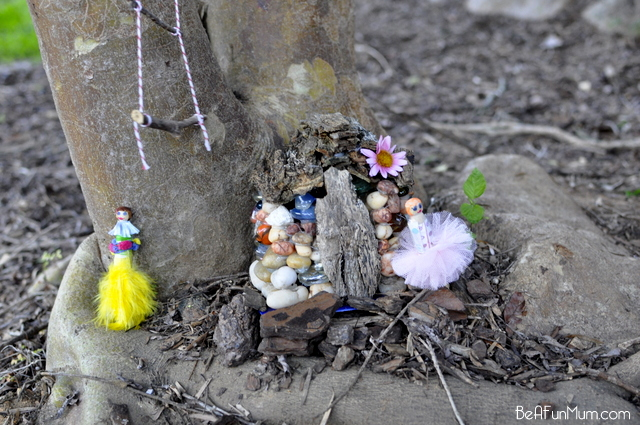 pebble fairy house -- peg people