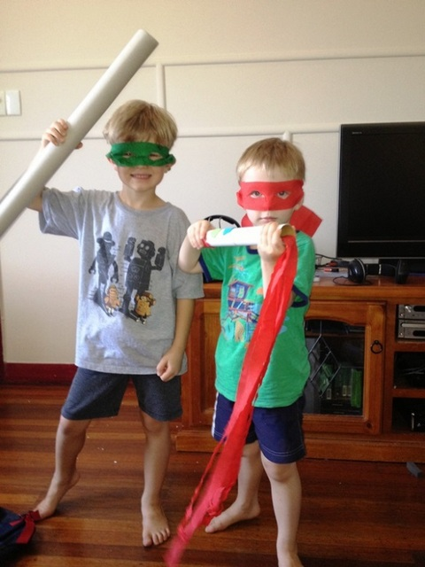 fun on holidays with boys -- ninjas