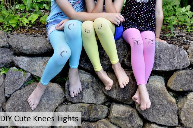 DIY cute knees tights for kids