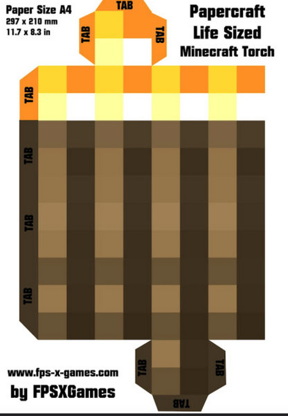 Minecraft Torch Printalbe