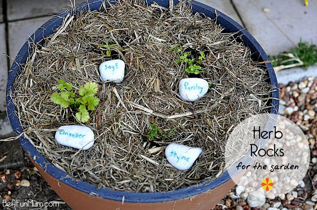 herb rocks for the garden -- label rocks