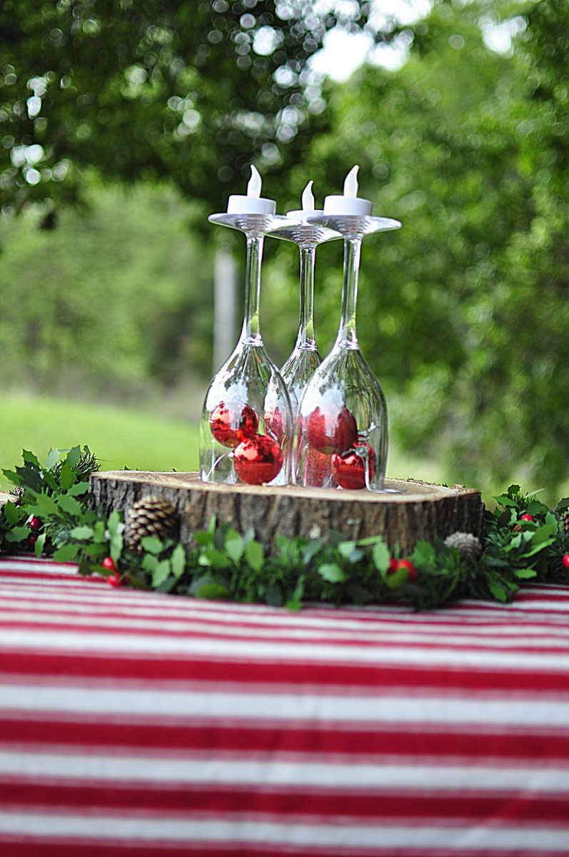 Outdoor Christmas Ideas - Plastic Wine Glass Centrepiece - beafunmum.com